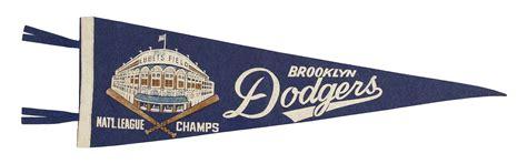 lot detail lot   brooklyn dodgers ebbets field vintage pennants reese loa