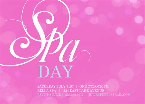 Spa Invitations Templates Free pink bubbles spa day invitation template