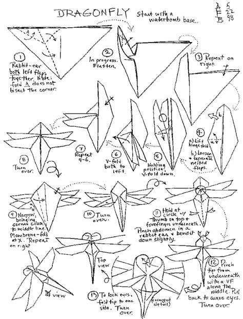 Origami Dragonfly Step By Step - origami insects