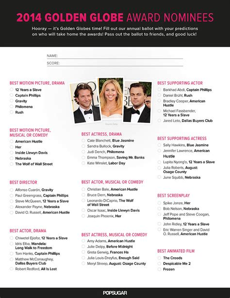 Golden Globe Ballot Printable