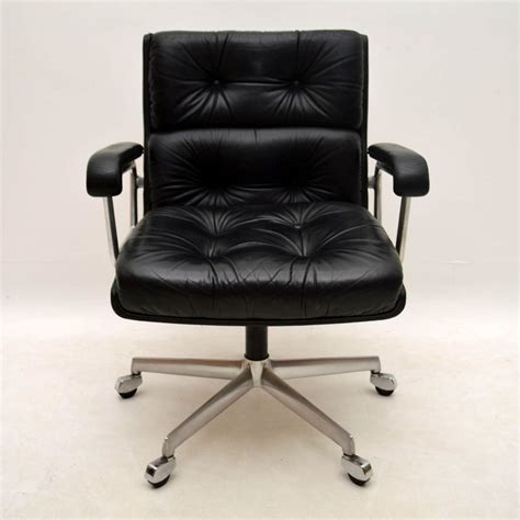 vintage leather desk chair retro leather swivel desk chair by girsberger vintage 1960
