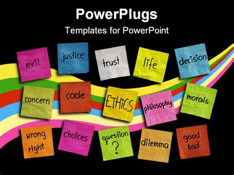 powerpoint themes ethics cloud of words related to ethics color sticky notes on