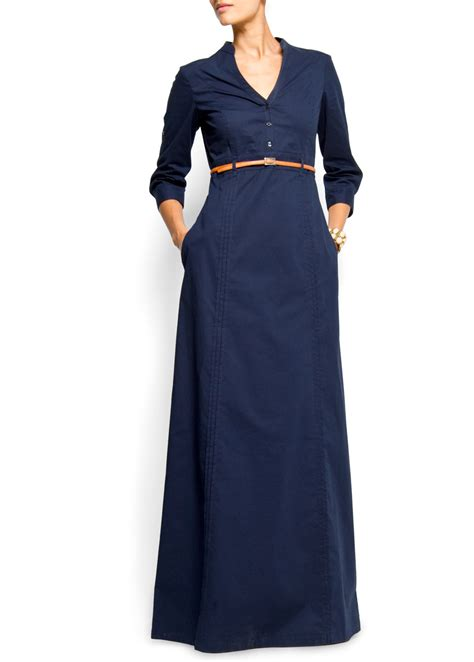 Mango Long Sleeved Maxi Dress in Blue (n1)   Lyst