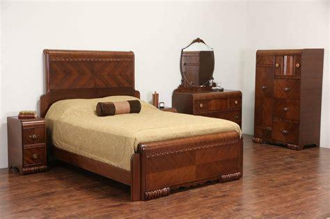 art deco  vintage queen size waterfall  pc bedroom set  nightstands ebay