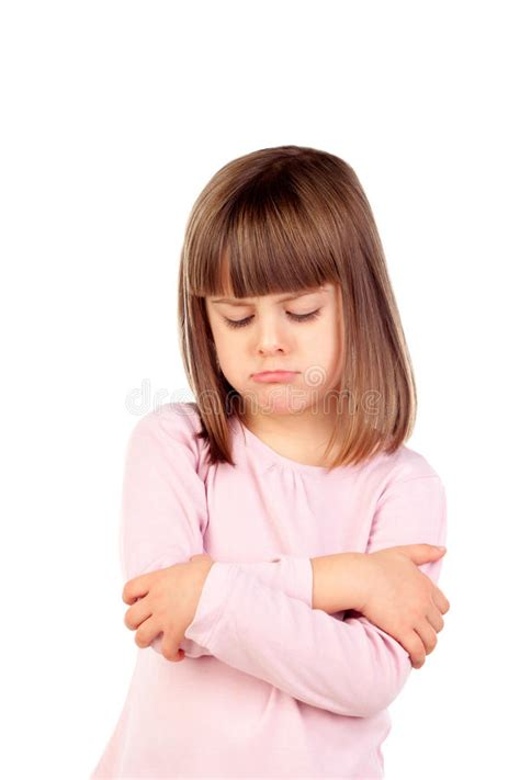 angry little girl in pink isolated on a white background very angry girl with pink t shirt stock photo image of