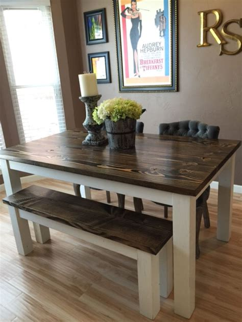 solid wood farmhouse kitchen table  matching wooden bench upholstered kitchen chairs