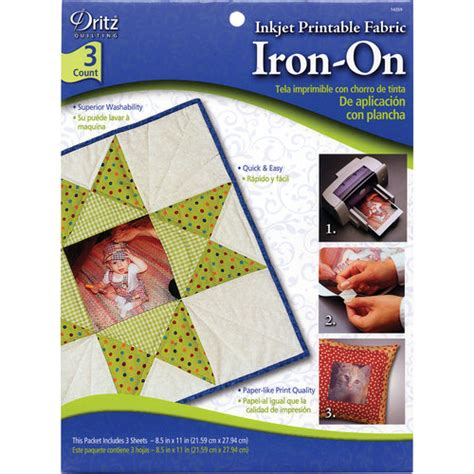 dritz iron on printable fabric inkjet printable fabric iron on walmart com
