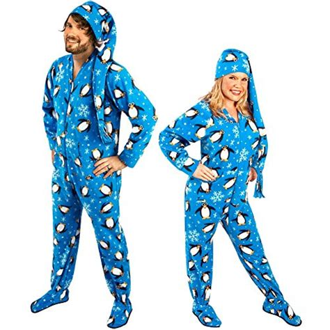 drop seat footed pajamas for adults penguin footed onesie pajamas for adults with drop seat