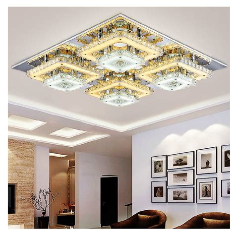 Art Deco Remote Control Square Flush Mount Crystal Ceiling Ceiling Lights Living Room