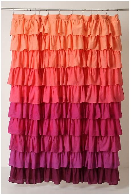 Coral Ruffle Curtains Coral Pink Shower Curtain Anthropologie Girly Decor Pink Shower Curtains Pink
