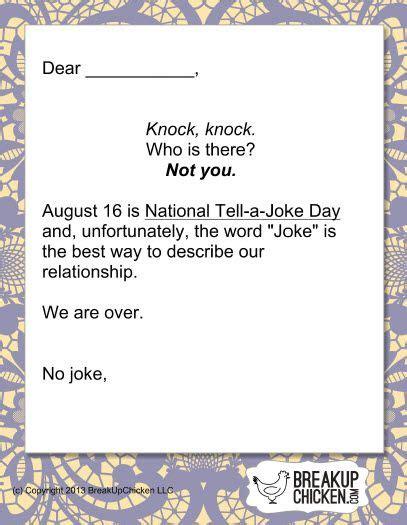 up letter joke national tell a joke day breakup letter breakup letters