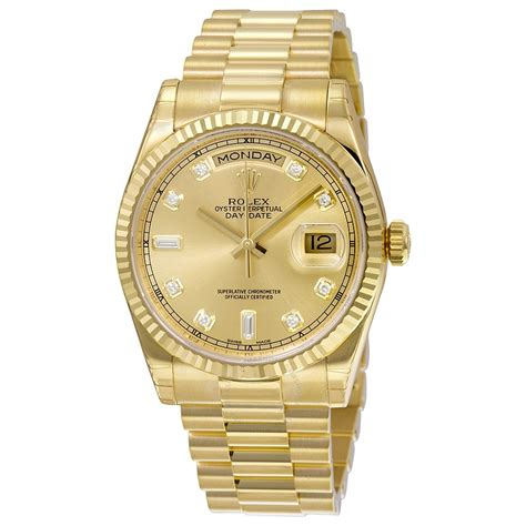 golden rolex rolex day date chagne 18k yellow gold president