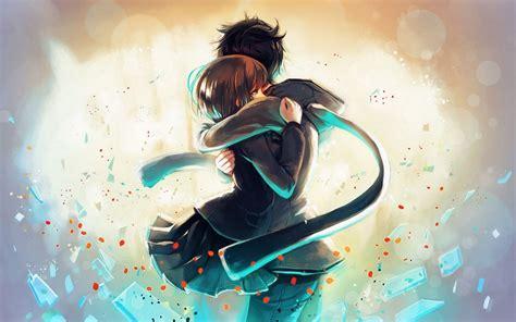 anime sweet couple wallpaper hd hug anime couple hd wallpaper m9themes