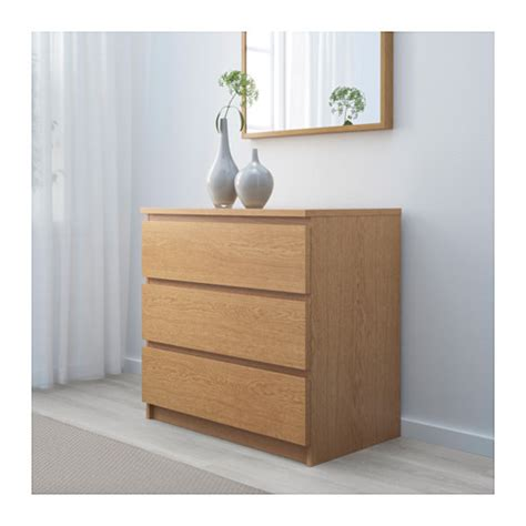 Oak Veneer Chest Of Drawers by Malm Chest Of 3 Drawers Oak Veneer 80x78 Cm