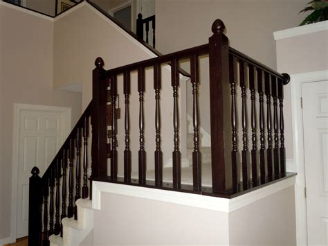 banisters and railings for stairs remodelaholic diy stair banister makeover using gel stain