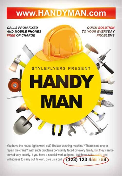 service job card template freepsdflyer download the handyman business flyer