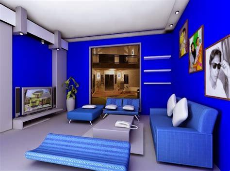 contoh kombinasi cat dinding warna biru  interior