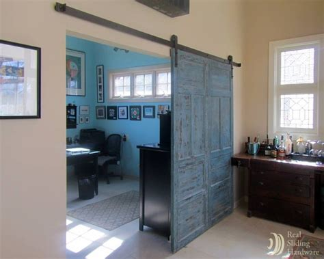 Sliding Barn Doors On Home Office Eclectic Home Office Office Barn Doors