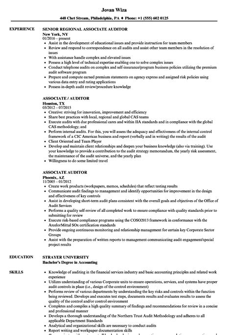 Auditor Resume by Associate Auditor Resume Sles Velvet