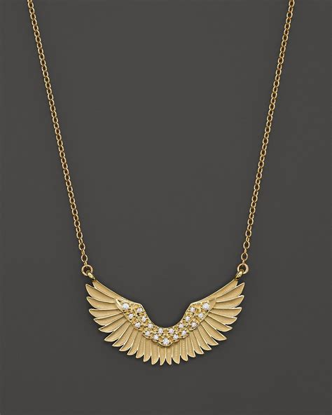 mizuki 14k yellow gold wings pendant necklace with