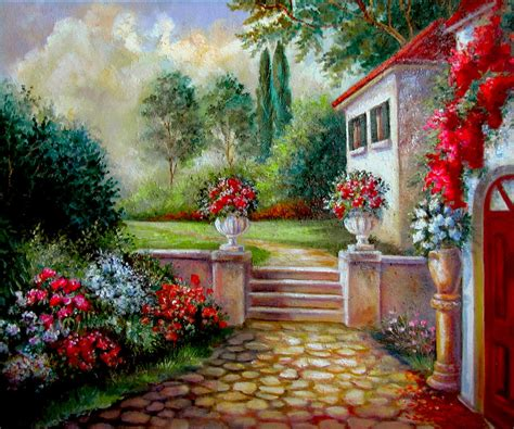 garden arts nursery italyan villa with garden painting by femrite