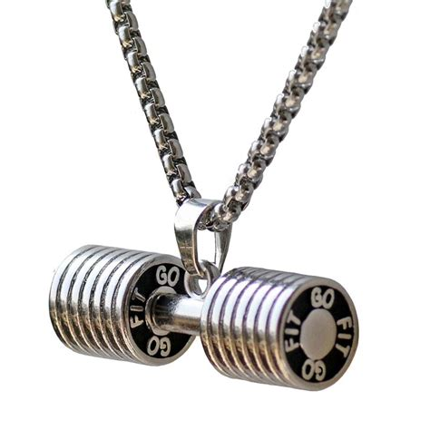 dumbbell necklace pendant barbell charm bodybuilding