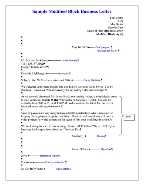 Business Letter Format And Style Modified Block Style Business Letter Cover Letter Templates