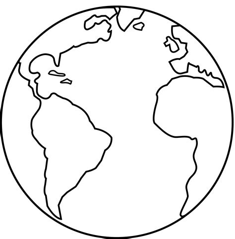 colorable earth line art free clip art