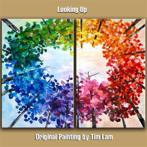 painting abstract painting original impasto modern tree 48 quot multi colors landscape