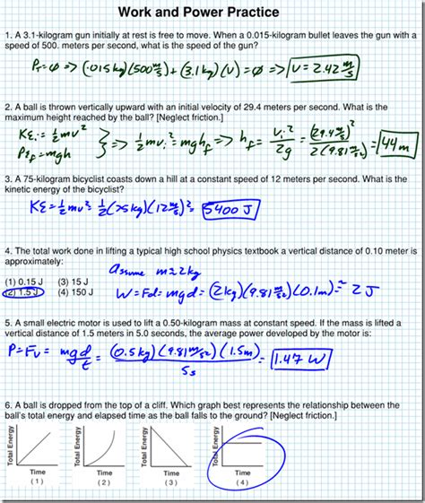 Energy And Worksheet Answers by Work Energy And Power Worksheet Answer Key Free Worksheets