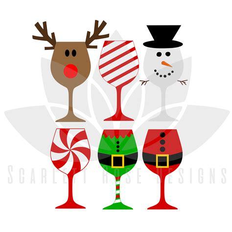 Christmas Svg Christmas Wine Glasses Cut File Scarlett