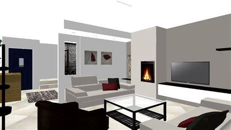 meuble et canapé com salon cheminee moderne