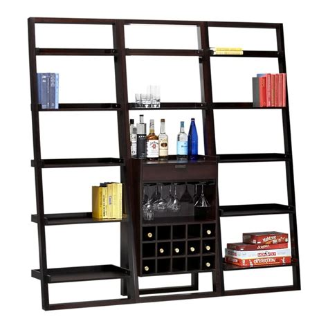 leaning wine bar bookcase set sloane leaning wine bar with 2 25 5 quot bookcases in