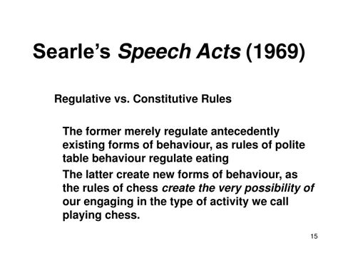 Searle 1969 Speech Acts An Essay In The Philosophy Of Language by Ppt Searle S Ontology Of Social Reality Its And Its Misery Powerpoint Presentation