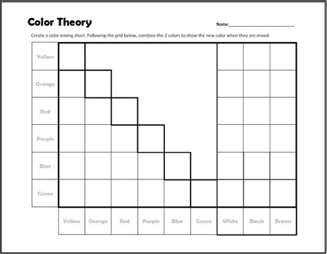 Color Theory Worksheet by Color Theory Mixing Chart Worksheet Create With Me