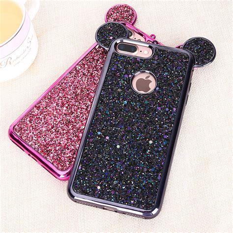 Mickey And Minnie Mouse Q0214 Iphone 7 Plus Casing Premium Hardcase haissky mickey minnie mouse ears glitter for iphone 7 8 plus 6 6s plus 5 5s se