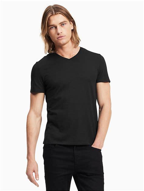 v neck textured shirt calvin klein mens slim fit textured v neck t shirt ebay