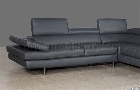 A761 Slate Grey Leather Sectional Sofa By J M Slate Grey Leather Sofa