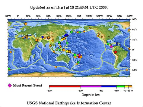 recent earthquakes map study