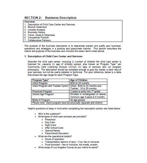 template for preschool business plan daycare business plan template 12 free word excel pdf
