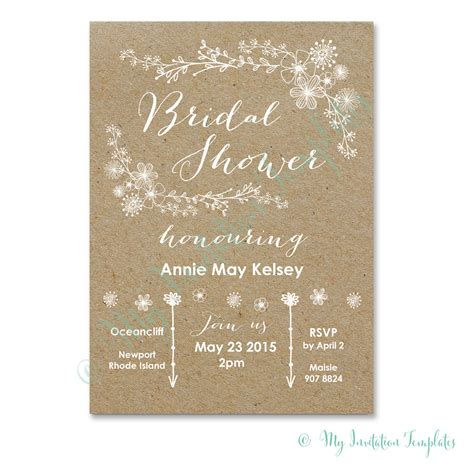 bridal shower templates diy bridal shower invitation whimsical rustic bridal