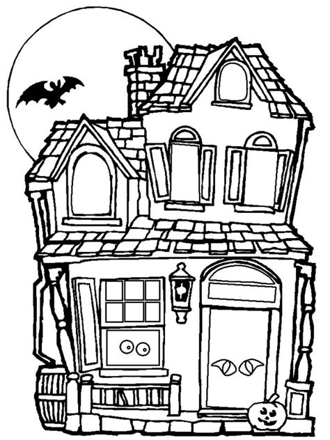 spooky and haunted halloween day house coloring page netart
