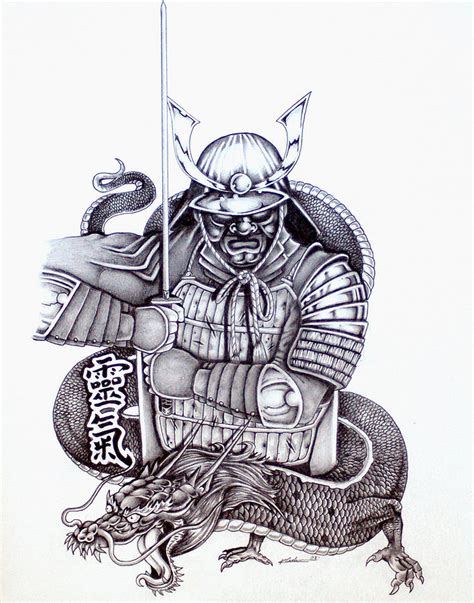 samurai tattoo design 1 drawing by kyle adamache