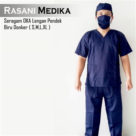 Baju Oka Operasi baju kamar operasi pendek baju ok biru dongker rasani medika