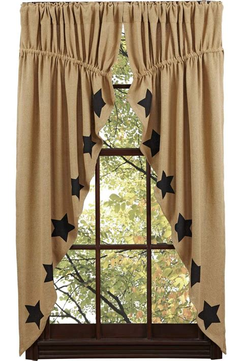 black star curtains burlap black star prairie swag