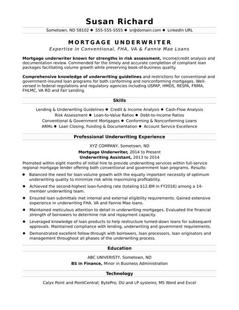 Resume Exles Mortgage Industry mortgage underwriter resume sle
