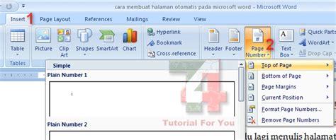 cara membuat nomor halaman pada microsoft office word 2007 cara cepat membuat halaman otomatis di microsoft word