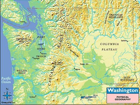 a physical map of washington washington physical geography map images frompo
