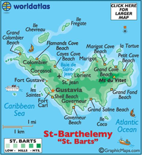 saint barts map / geography of saint barts / map of saint