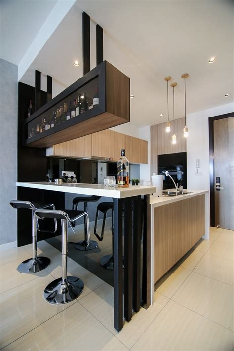 Small Home Bar Counter Design Brown Wooden Cabinets For Modern Kitchen Design With Integrated Bar Counter For A